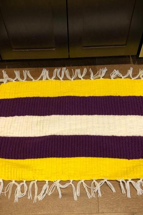 Large LSU / Lakers Handmade Door Bath Kitchen Mat or Rug
