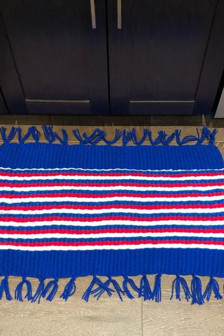 Red White and Blue Handmade Door Bath Kitchen Mat or Rug