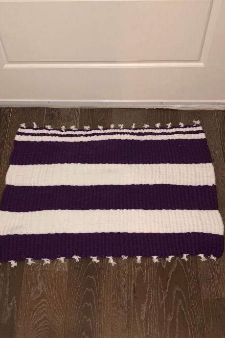 Purple and White Handmade Mat or Rug