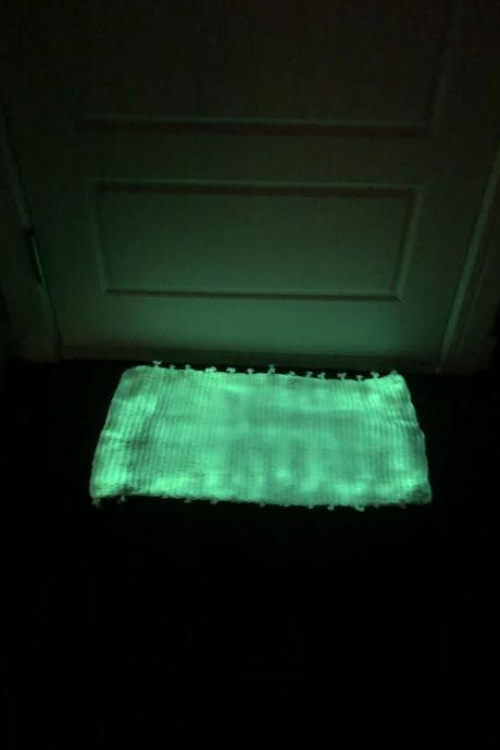 GLOw IN THE DARK! Door kitchen bath #mat #rug #doomat #handmade