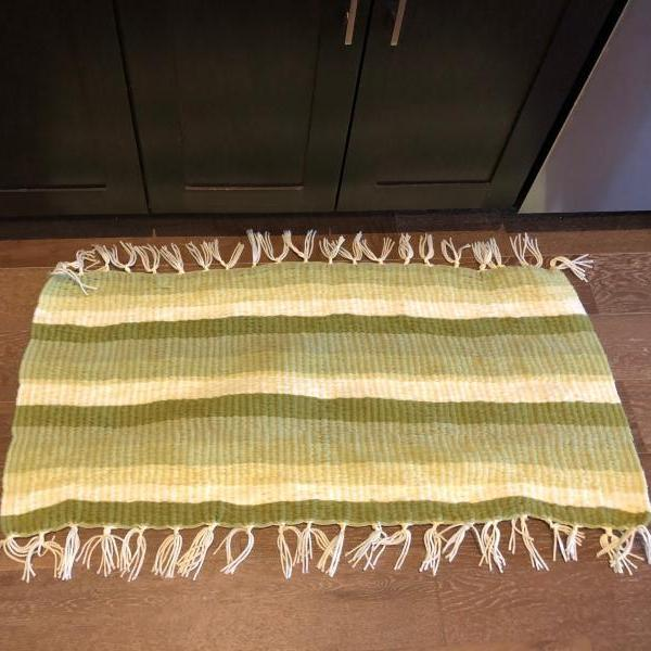 3'x2' Striped Green Handmade Doormat Bath or Kitchen Mat and Rug
